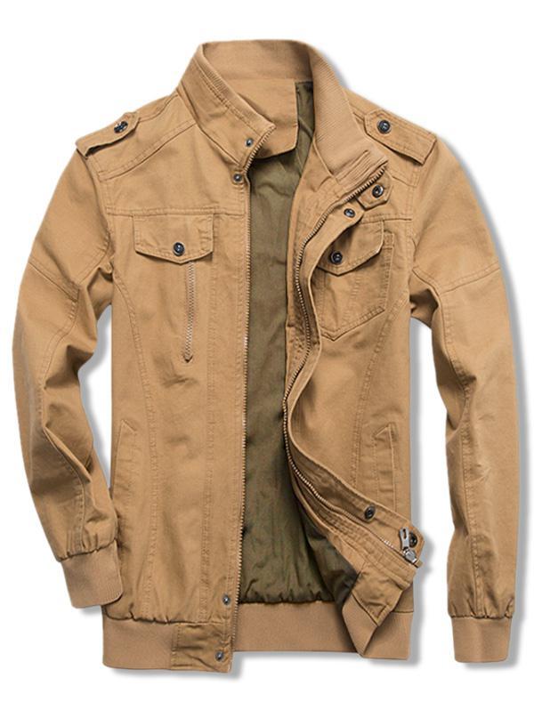 Solid Color Zipper Casual Jacket