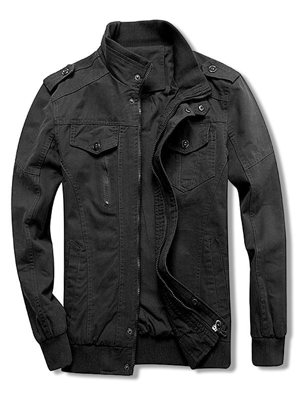 Solid Color Zipper Casual Jacket, Black