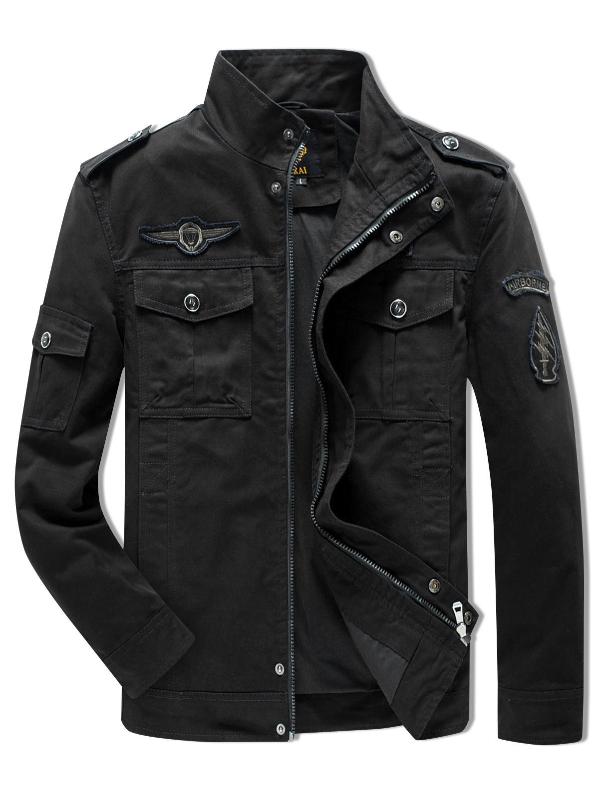 Sleeve Appliques Zipper Casual Jacket