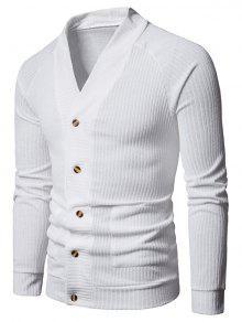 جيب الصلبة زر حتى سترة رقيقة - أبيض M