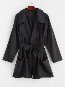 جيوب التفاف معطف - أسود M
