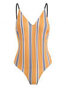 ZAFUL أسفل الظهر مخطط ثونغ ملابس السباحة - متعدد L