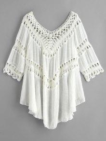 الكروشيه لوحة منديل شاطئ التستر اللباس - أبيض