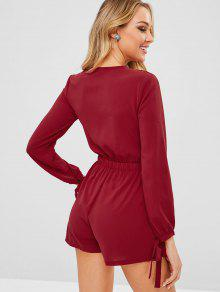 6000b5cc80f0 26% OFF  2019 Tie Front Plunging Romper In CHERRY RED