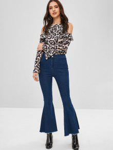 5452d663d0c0d 25% OFF  2019 Leopard Cold Shoulder Bell Sleeve Blouse In MULTI-A ...