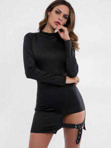 فستان مزين بحزام مزين بالخرز - أسود M