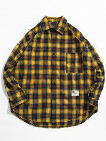 منقوشة جيب زر حتى القميص - الأصفر Xl