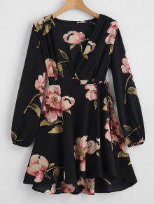 الأزهار طباعة الخامس الرقبة التفاف اللباس - أسود M