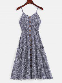 أزرار مزينة صغيرة فستان كامي الأزهار - الدينيم الأزرق الداكن Xl