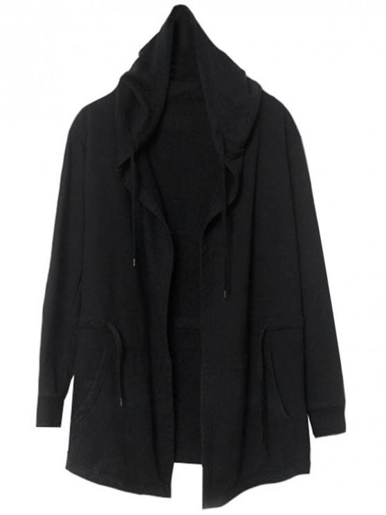 trendy Front Open Hooded Thin Coat - BLACK XL