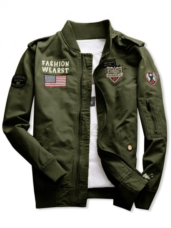 women's Shark Embroidery Appliques American Flag Jacket - ARMY GREEN XL