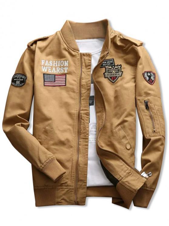 321e0d306 Bordado de tubarão apliques casaco de bandeira americana - Caqui M