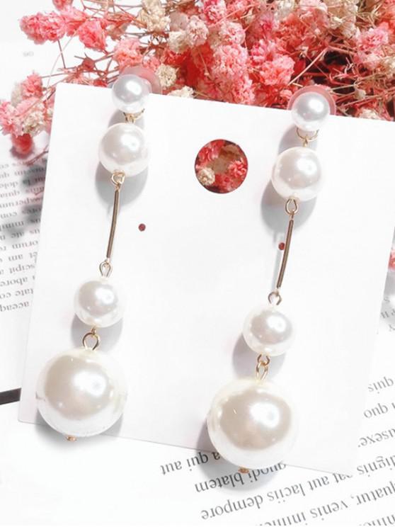 Pendientes de abalorios con diseño de bolas de perlas artificiales - Blanco