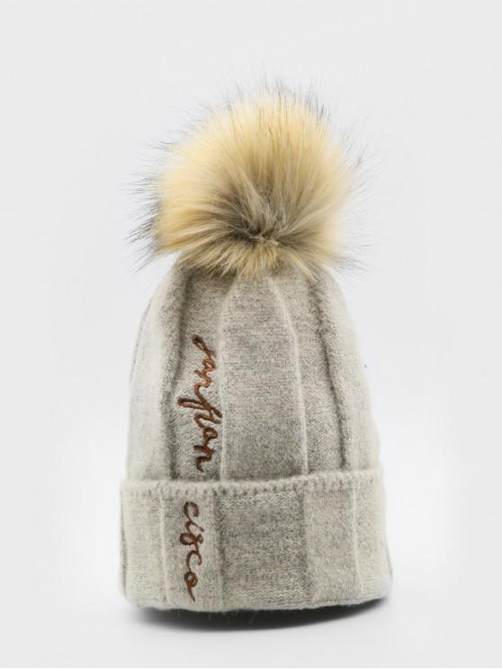 895a2135 23% OFF] 2019 Winter Letter Embroidery Fuzzy Ball Ski Cap In KHAKI ...