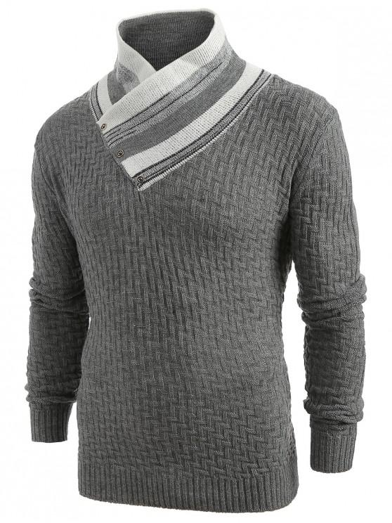 outfit Button Shawl Collar Knit Sweater - GRAY M