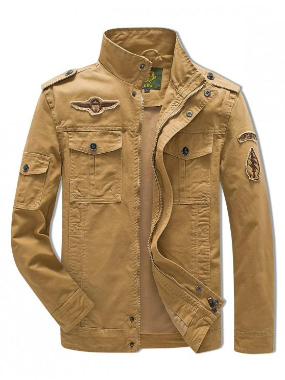 hot Sleeve Appliques Zipper Casual Jacket - LIGHT KHAKI L