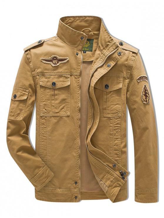 fancy Sleeve Appliques Zipper Casual Jacket - LIGHT KHAKI M