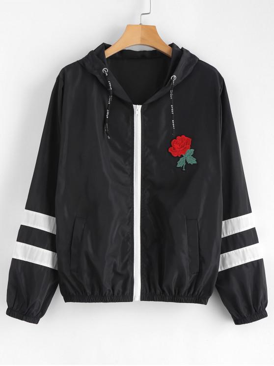 Cortavientos capucha rayada parcheada floral - Negro M