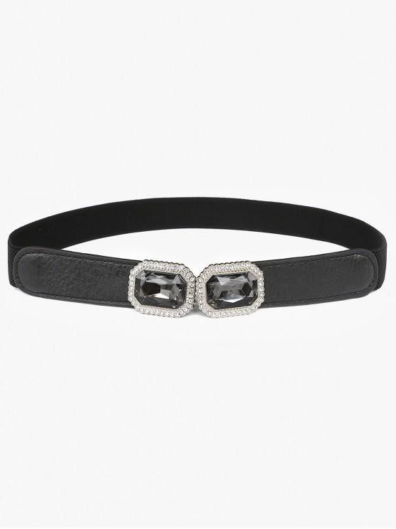 fancy Rhinestone Inlaid Faux Gem Stretchy Dress Belt - BLACK