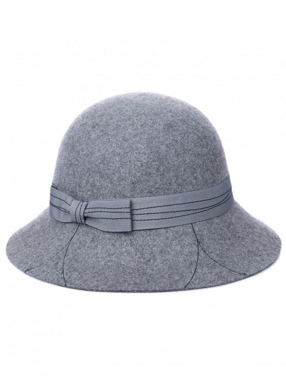 ladies Vintage Letter K Bowknot Bucket Hat - BATTLESHIP GRAY