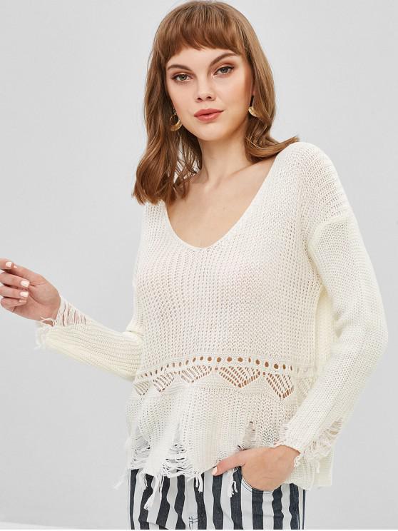 Camisola de pulôver com franjas afligida - Leite Branco Um Tamanho