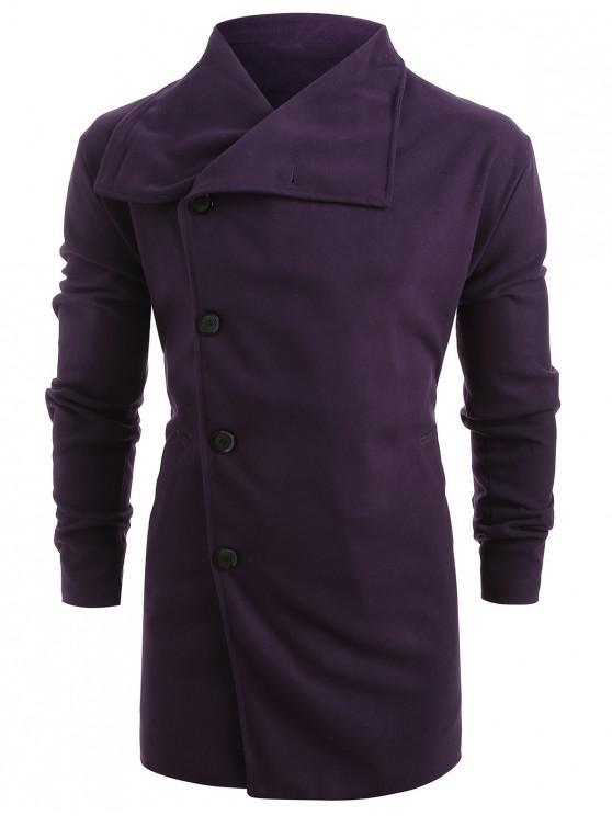 women Side Single Breasted Woolen Trench Coat - PURPLE M
