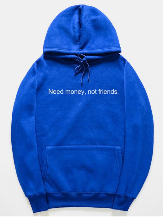 hot Funny Letter Pattern Pullover Hoodie - BLUE XL