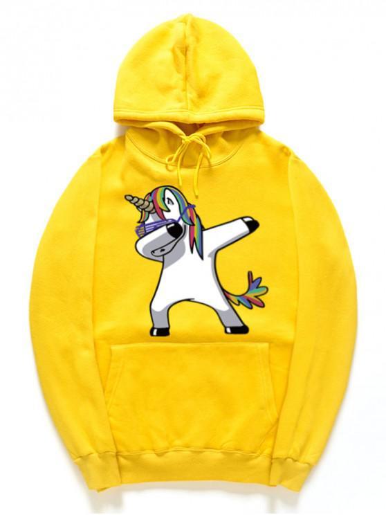 latest Funny Rainbow Horse Pattern Pullover Fleece Hoodie - YELLOW 2XL