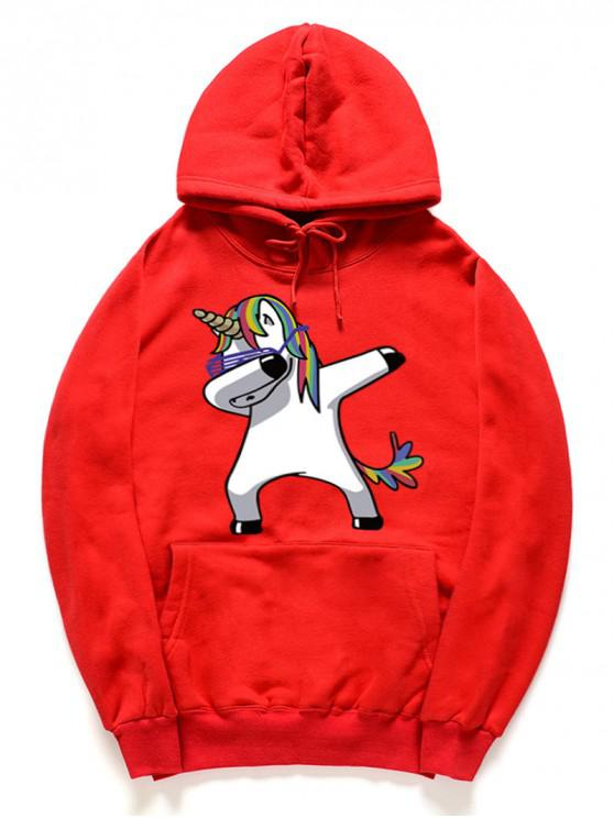 hot Funny Rainbow Horse Pattern Pullover Fleece Hoodie - LAVA RED XL