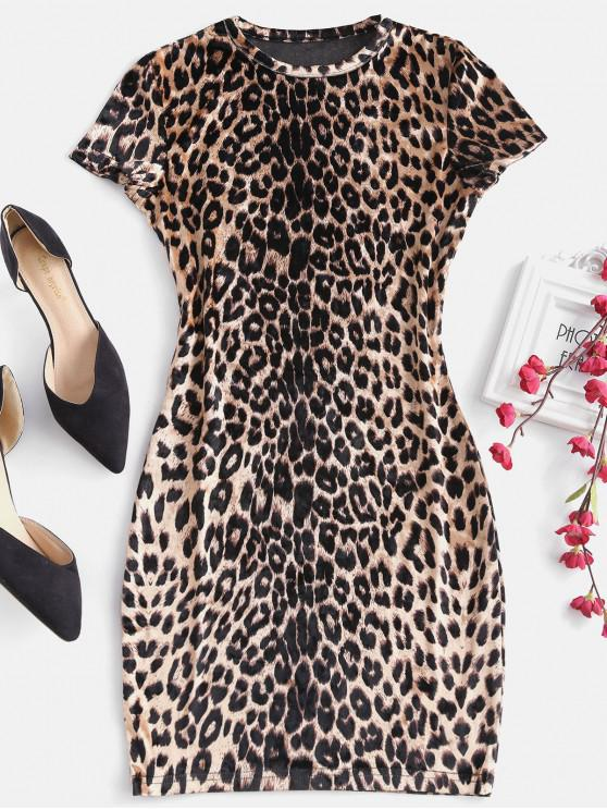 shops Leopard Print Mini Bodycon Party Dress - LEOPARD M