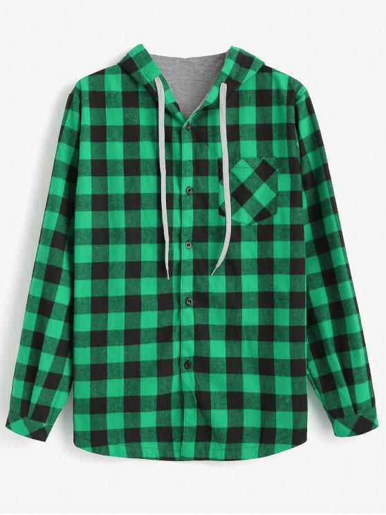 hot Checked Pattern Button Fly Hooded Shirt - GREEN APPLE L