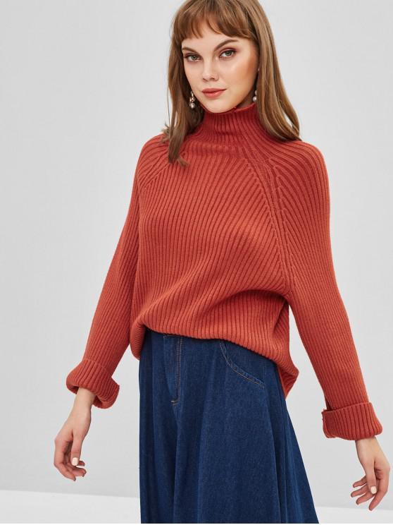 shop Plain Raglan Sleeve Turtleneck Sweater - CHESTNUT RED ONE SIZE