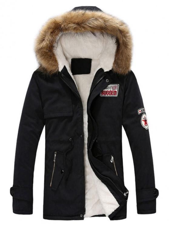 affordable Faux Fur Hood Fluffy Lined Jacket - BLACK M