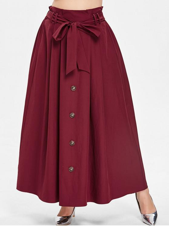 unique ZAFUL Long Plus Size Skirt with Belt - RED WINE 2X