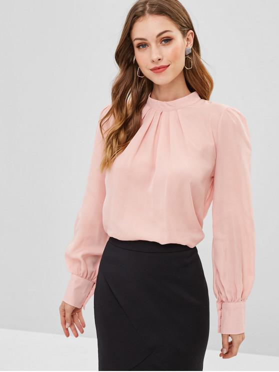 hot Pleated Front Flowy Top - LIGHT PINK L