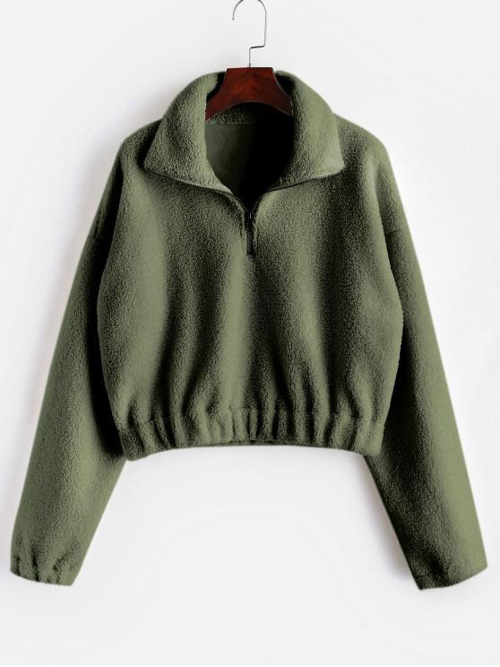 Sweat-shirt Simple à Demi-Zip en Fausse Fourrure - Vert Armée  L