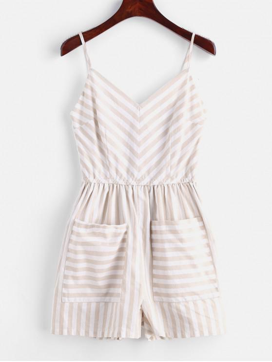 lady Front Pockets Striped Romper - MULTI-A M