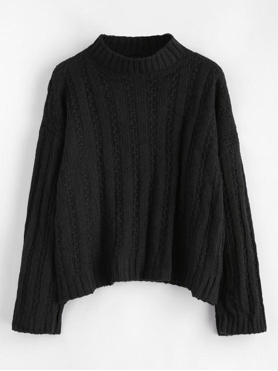 latest Drop Shoulder Wide Ribbed Boxy Sweater - BLACK ONE SIZE