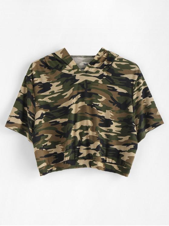 outfit Plus Size Camo Crop Hoodie - WOODLAND CAMOUFLAGE 1X