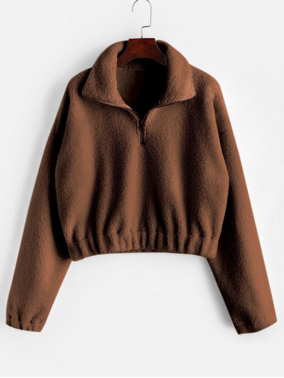 sale Half Zip Plain Faux Fur Sweatshirt - BROWN S