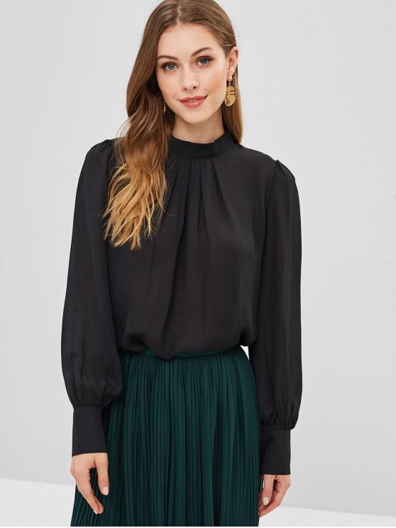 women's Pleated Front Flowy Top - BLACK L