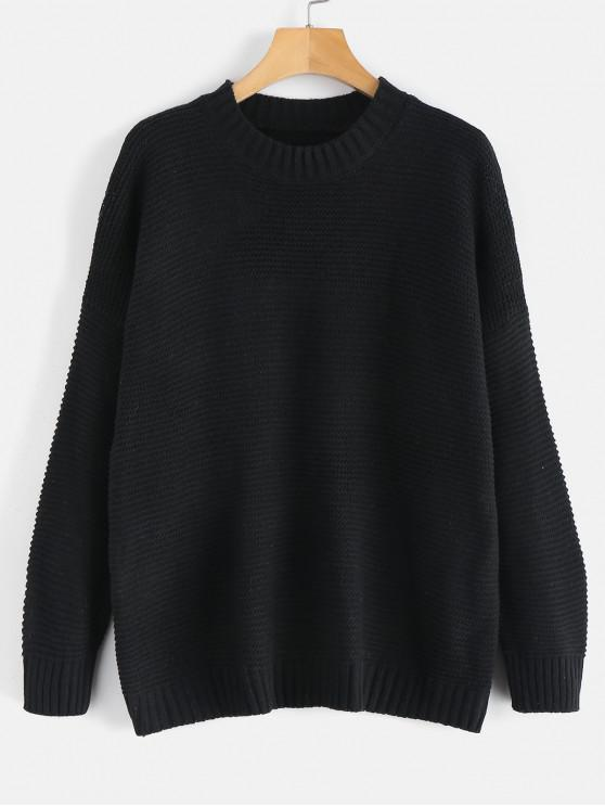 unique Dropped Shoulder Sleeve Boxy Sweater - BLACK ONE SIZE