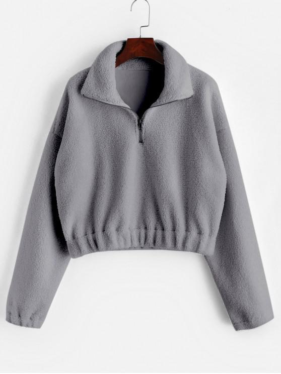 lady Half Zip Plain Faux Fur Sweatshirt - GRAY M