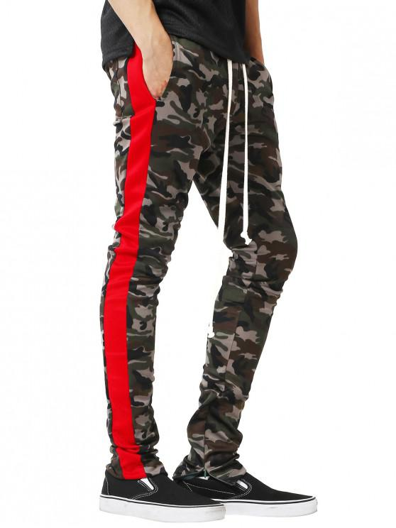 trendy Side Stripe Hem Zipper Camo Drawstring Track Pants - RED S