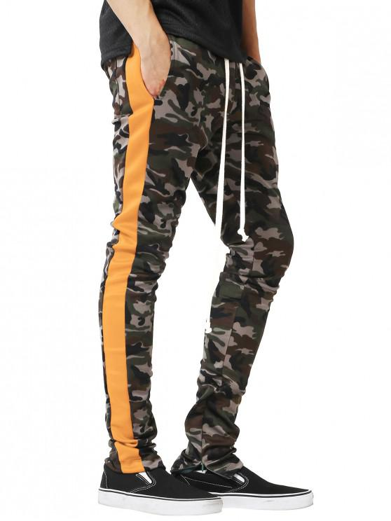 unique Side Stripe Hem Zipper Camo Drawstring Track Pants - YELLOW S