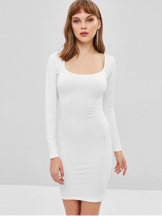 Vestido ajustado de manga larga de corte bajo - Blanco M