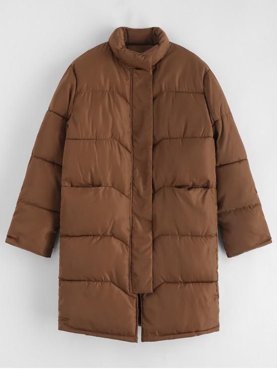 ladies Quilted Pocket Longline Coat - LIGHT BROWN M