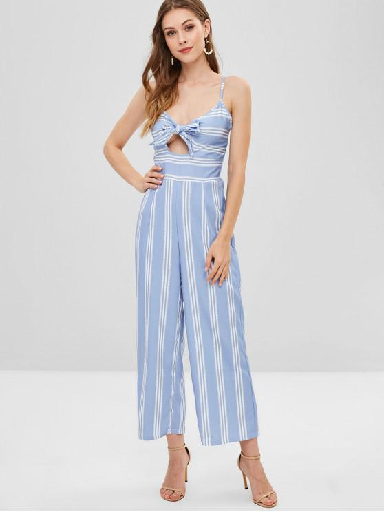for whole family details for unique design Knot Cutout Shirred Striped Jumpsuit PASTEL BLUE