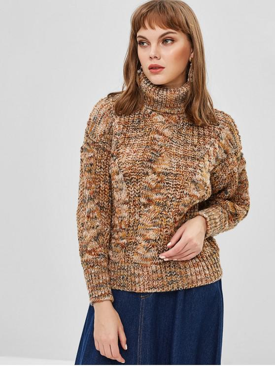 trendy Mixed Yarn Cable Knit Chunky Turtleneck Sweater - CAMEL BROWN ONE SIZE