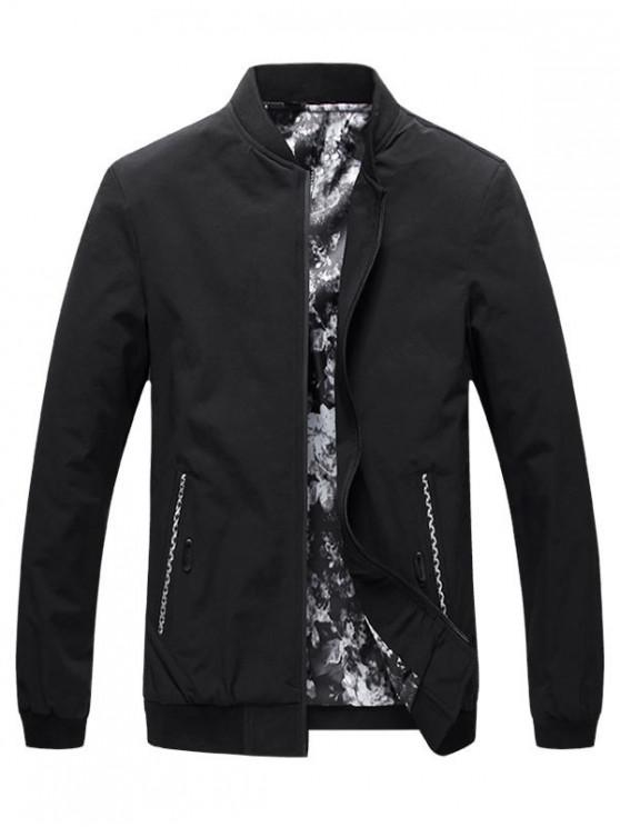 ladies Side Pocket Windbreaker Bomber Jacket - BLACK L